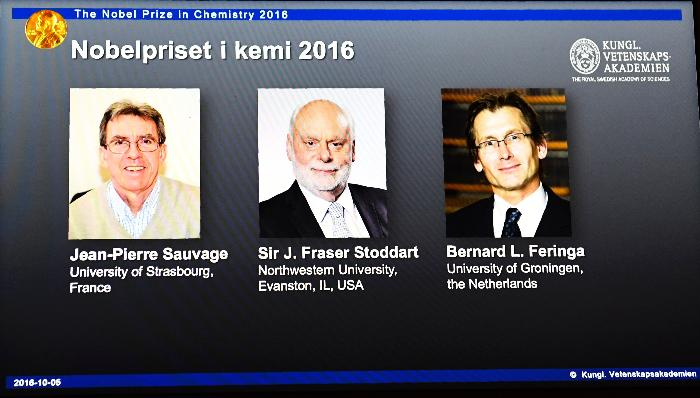 The laureates of the 2016 Nobel Prize in Chemistry.
