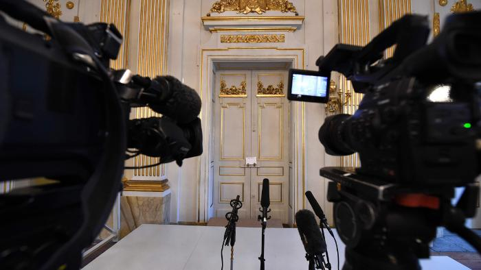 Video cameras placed for the press conference announcing the laureate of the 2016 Nobel Prize in Literature at the Swedish Academy in Stockholm. Photo: AFP